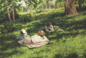 Three Reading Women in a Summer Landscape by Krouthen 1908