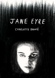 "Dustjacket illustration of Jane Eyre by Lauren Gentry, depicting the doubling of Jane and Bertha. Bertha appears here as the ""manifestation of the anger and frustration felt by Jane under the oppression of the male characters."""