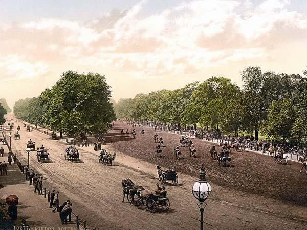 Rotten Row--a track located on the souther side of Hyde Park in London. Jess and Dain take their carriage (curricle) ride in Hyde Park.